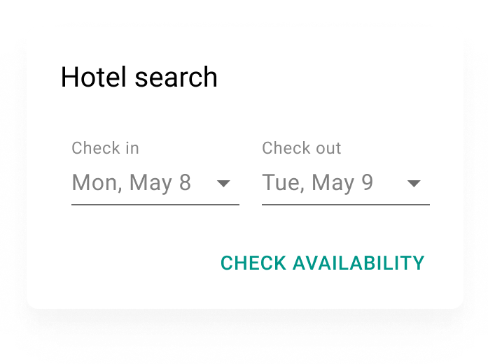 "Hotellsökning med CTA-texten ""Check availability""."
