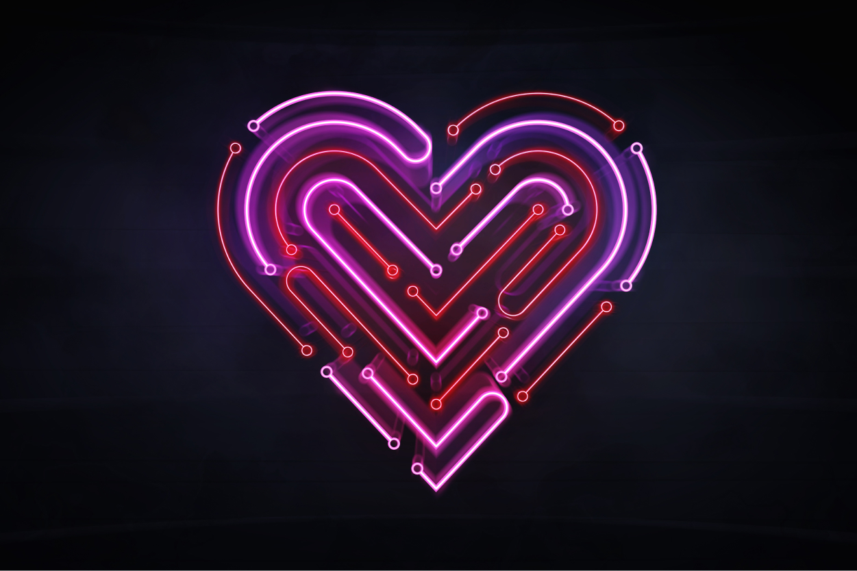 illuminated neon heart shape as integrated circuit background