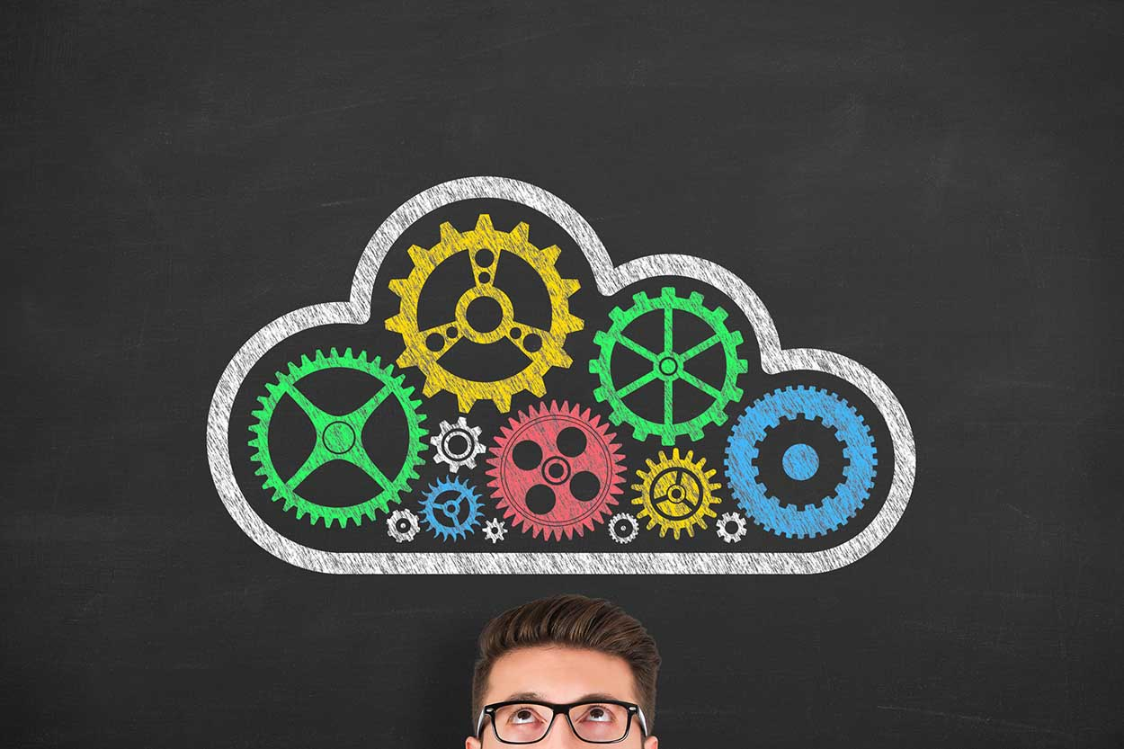 Cloud Computing Concepts on Chalkboard Background